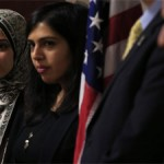 From left, Yasmin Nouh, Communications Coordinator with the Council on American-Islamic Relations, and civil rights attorney Fatima Dadabhoy listen while several students talk about bias-based bullying of Muslim students during a news conference at CAIR offices in Anaheim, Calif.  December 24, 2013 4:38 pm  •  By JEFF KORBELIK | LINCOLN JOURNAL STAR