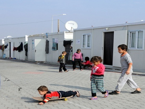 The refugee container camp at Nizip, Turkey. Photograph: Anadolu Agency/Getty Images