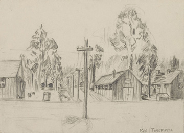 Sketch of the Rohwer Internment Camp drawn by a Japanese American teenager in 1942.