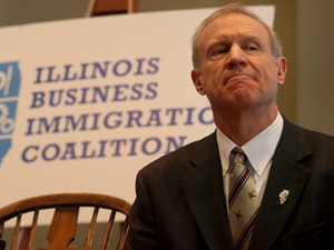 Gov. Bruce Rauner listens to speakers at an immigration reform panel hosted by Illinois Business Immigration Coalition on Mar. 9, 2015. (Nancy Stone, Chicago Tribune)