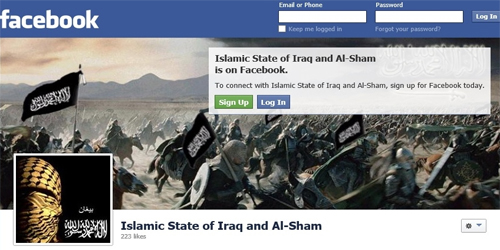 A screenshot of a Facebook page to promote the Islamic State of Iraq and Syria (Isis) group, which has since been closed.