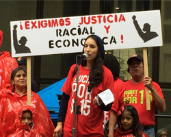 Adriana Sanchez from Fight for 15 (Photo by Bill Chambers)