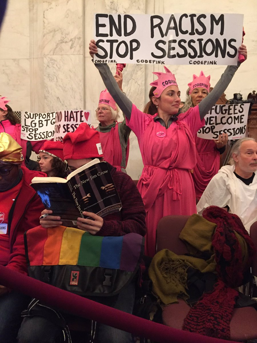 Protest at Sessions Confirmation Hearings Photo via @lizcgoodwin