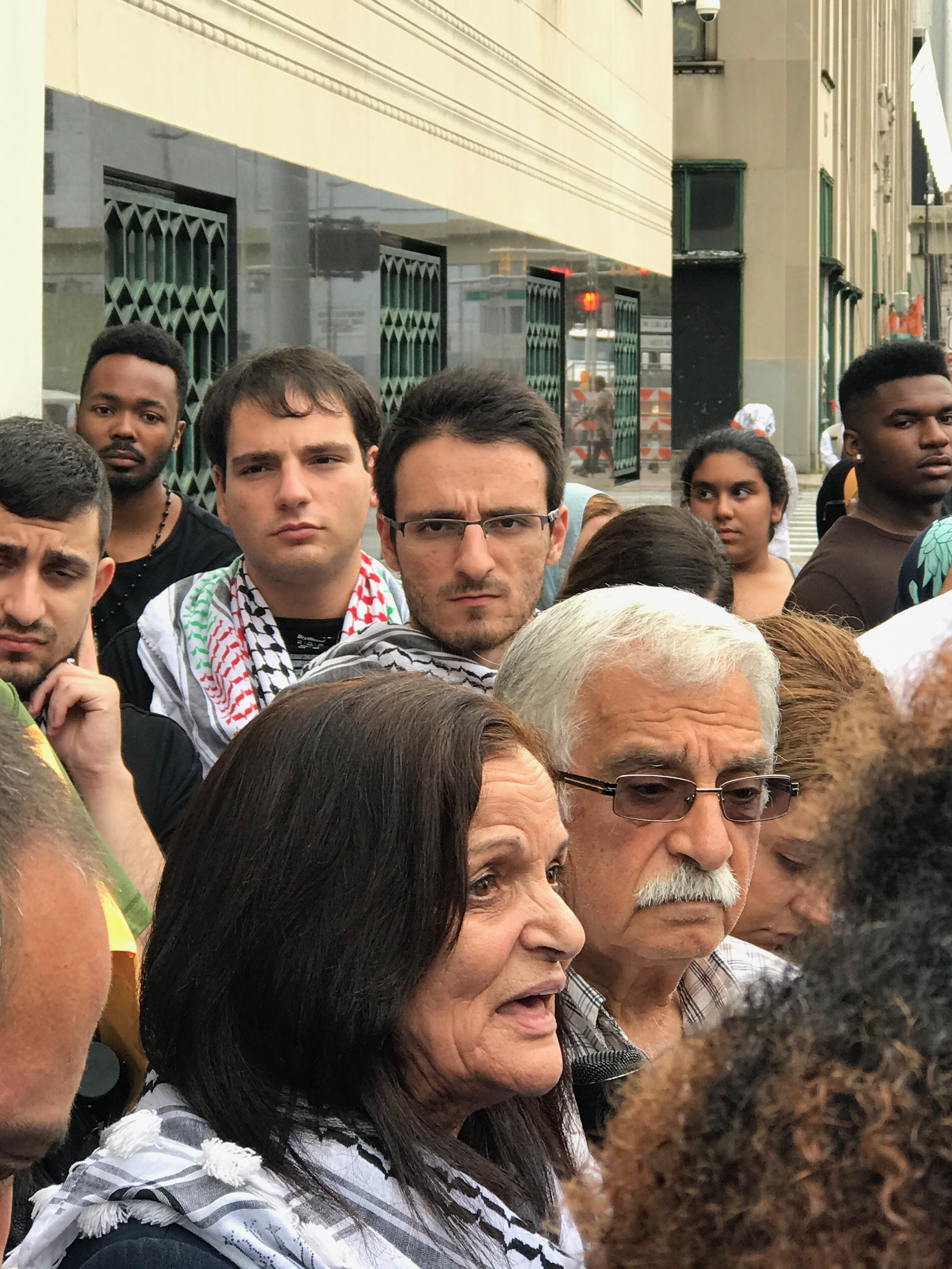 Rasmea Speaking to Supporters. (Photo by Bill Chambers)