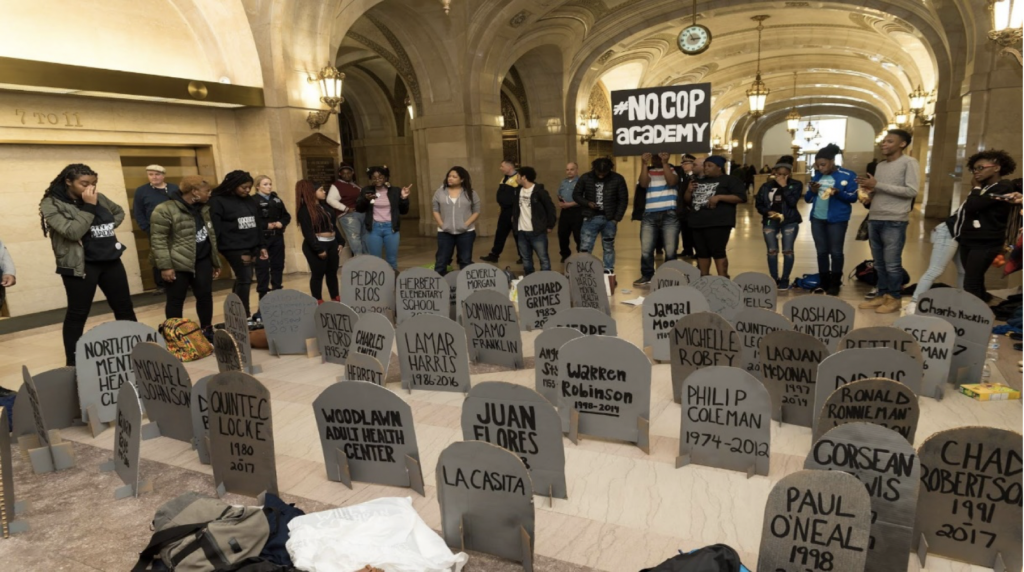 Picture by Sarah-Ji of staged die-in in City Hall